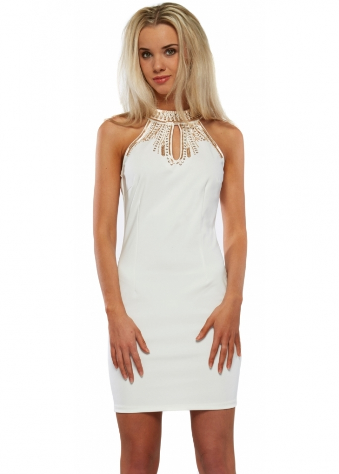 Designer Desirables Cream Bodycon Mini Dress With Beaded Halter Neck