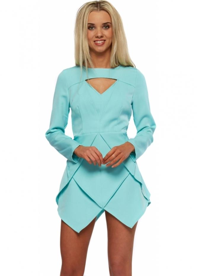 Designer Desirables Aqua Long Sleeve Origami Pleated Mini Dress