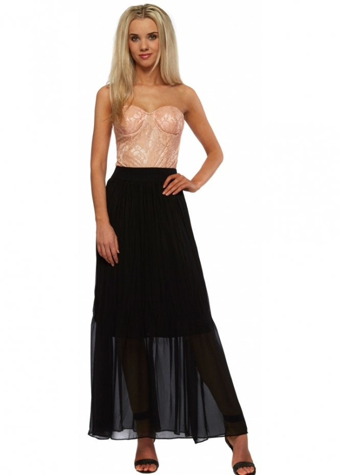 French Boutique Nude Peach Lace Bustier Black Chiffon Maxi Dress