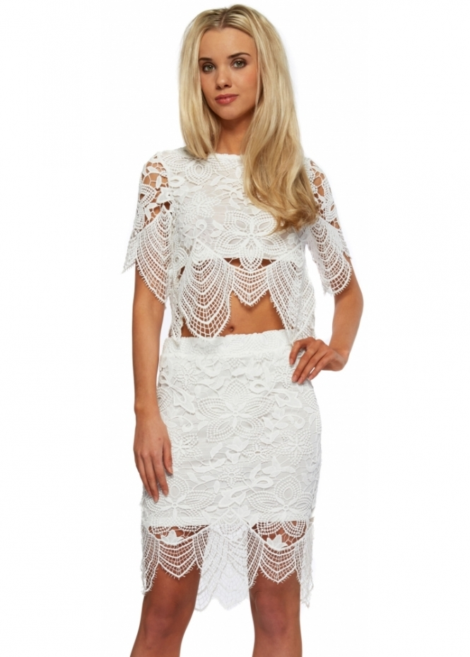 Designer Desirables Ivory Lace Cropped Top & Skirt Set