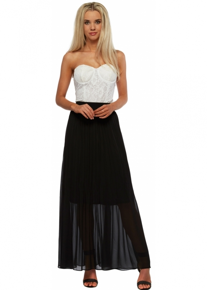 French Boutique White Lace Bustier Black Chiffon Maxi Dress