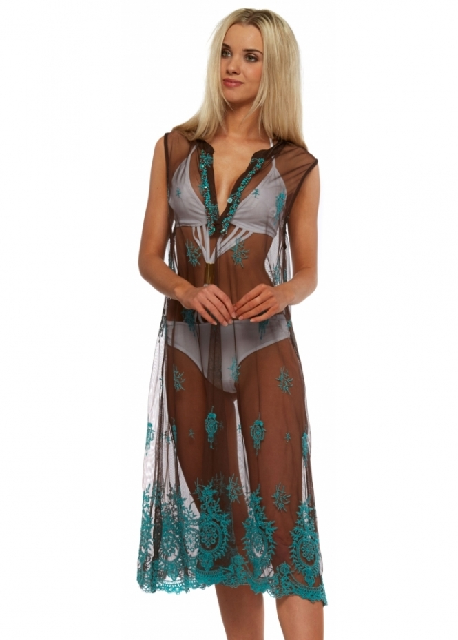 Antica Sartoria Brown Mesh Kaftan Dress With Turquoise Floral Embroidery