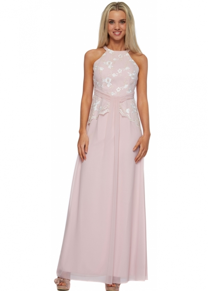 Little Mistress Rose Pink Floral Embroidered Bodice Maxi Dress