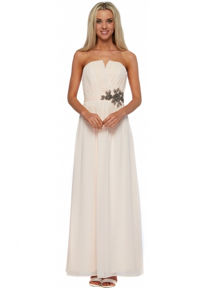 Little Mistress Nude Bandeau Maxi Dress With Floral Beaded Embellishment