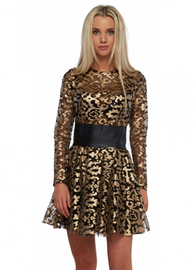 Just Unique Black & Gold Damask PU Mesh Skater Naomi Dress