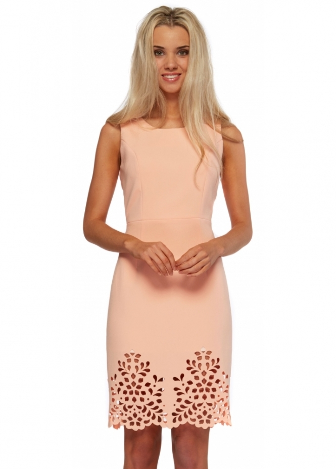 Little Black Dress Peach Eva Dress With Laser Cut Hemline