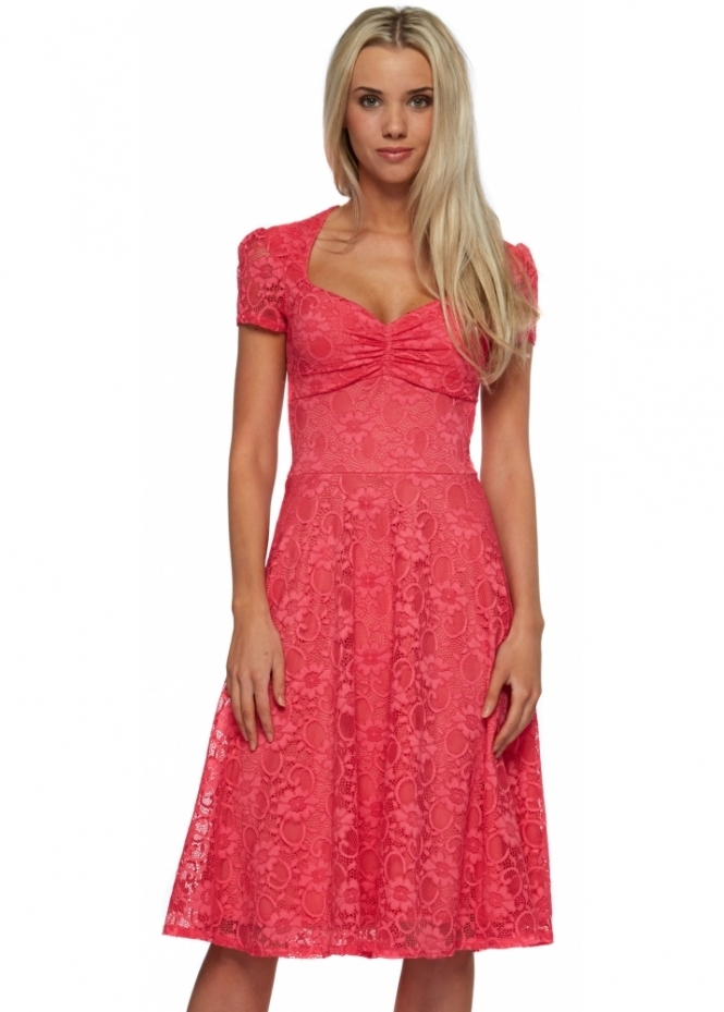 Goddess London Cerise Pink Lace Sweetheart Neckline Swing Dress