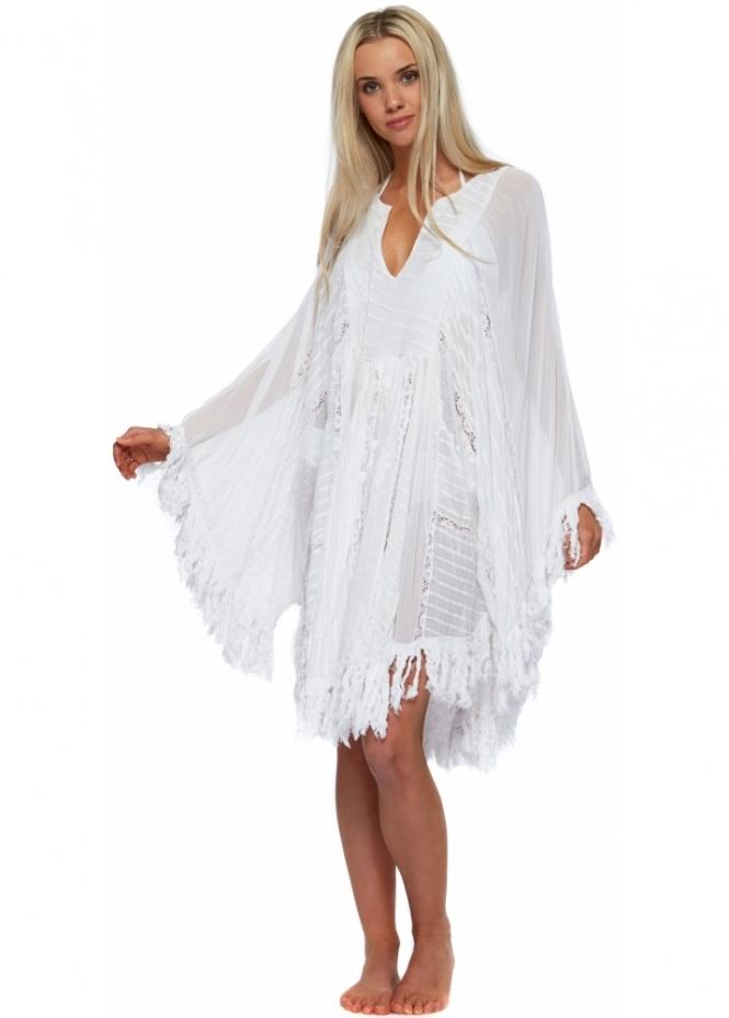 Antica Sartoria White Beach Poncho Kaftan Dress Luxe