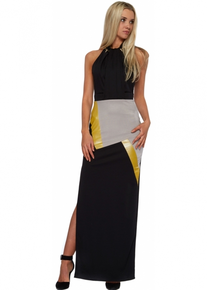 Designer Desirables Black Jersey Halter Neck Colour Block Maxi Dress