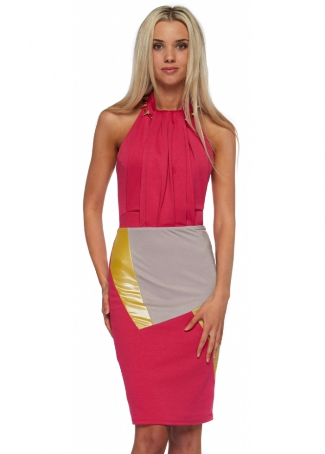Designer Desirables Hot Pink Jersey Halter Neck Colour Block Midi Dress