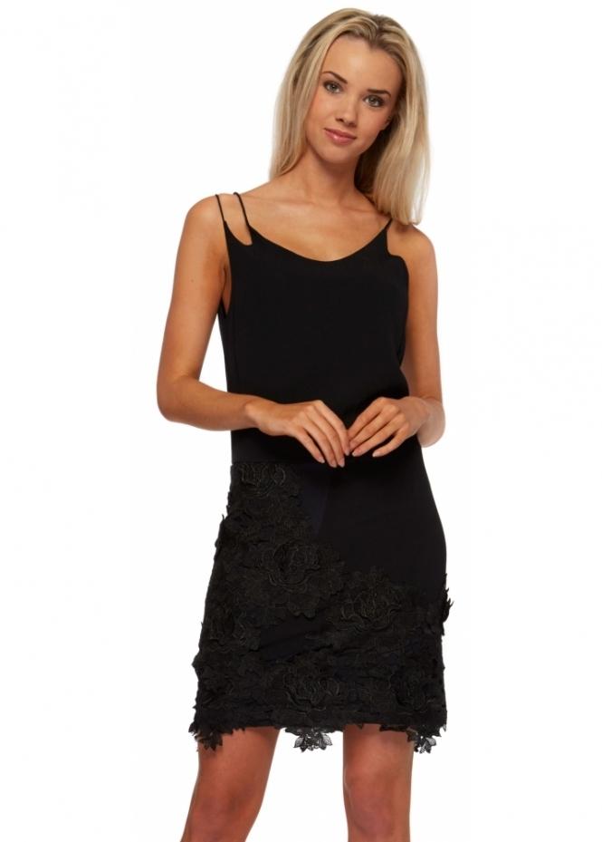 Miss Milne Wanderlust Black Flower Cut Away Lace Dress