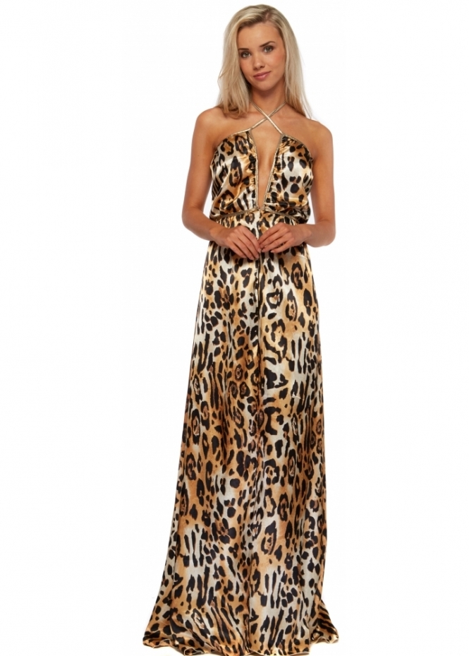 Holt Leopard Print One Night In Paris Gold Ties Maxi Dress