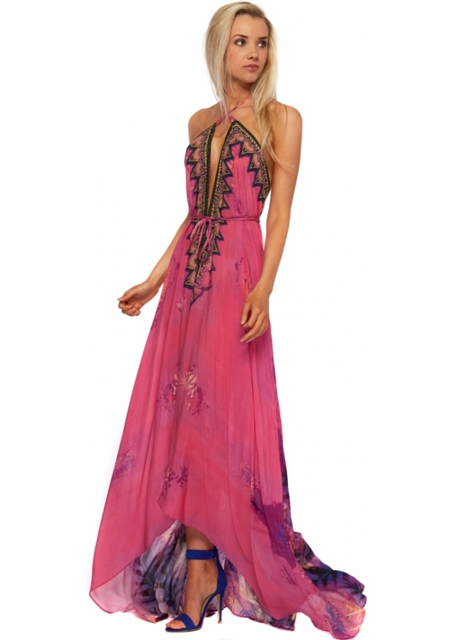 Shahida Parides Purple & Pink Amazonia Palm Silk Crepe Maxi Dress