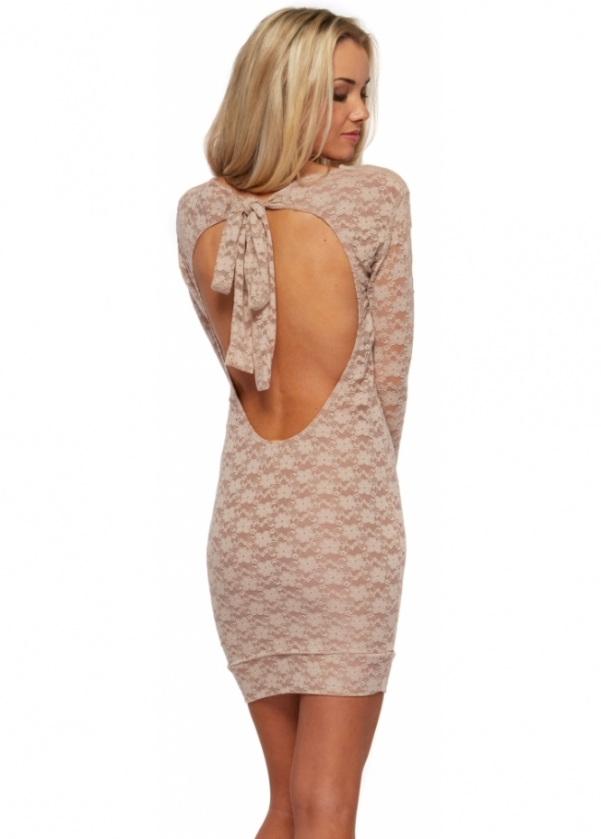Honor Gold Paige Beige Lace Bodycon Mini Dress