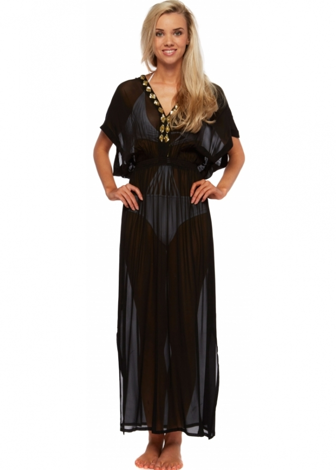Lindsey Brown Gold Beaded Silk Black Marbella Maxi Kaftan Dress