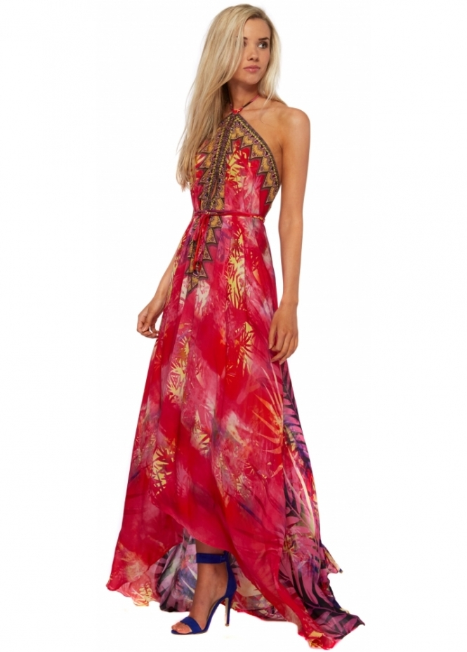 Shahida Parides Red Amazonia Palm Silk Crepe Maxi Dress