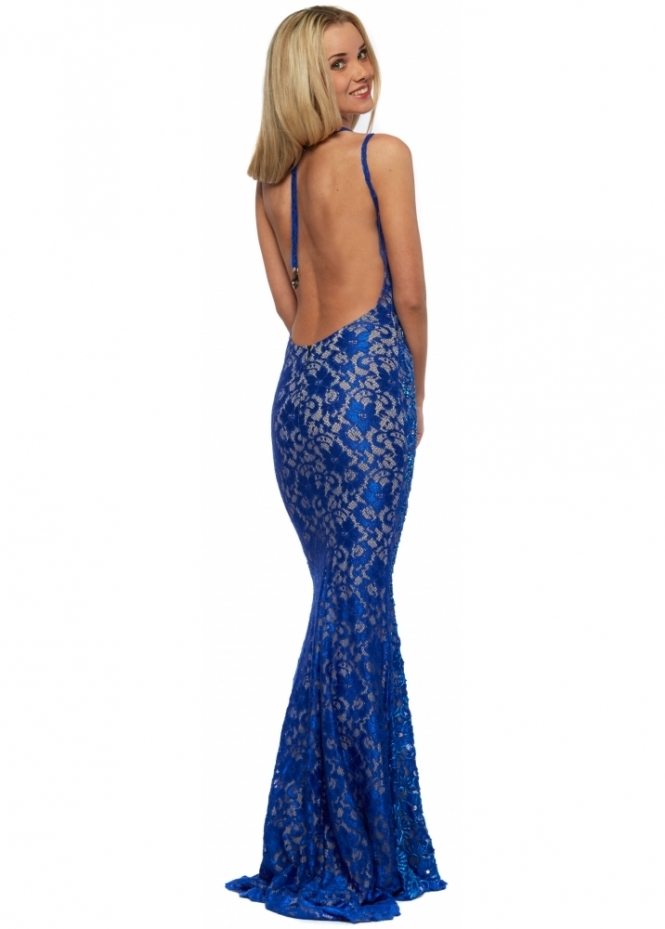 Holt Liv Blue Hand Painted & Crystal Backless Evening Dress