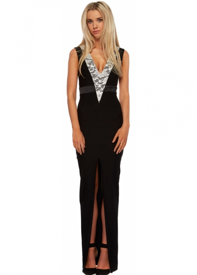 Vesper Black Plunge Front High Split Marilyn Maxi Dress