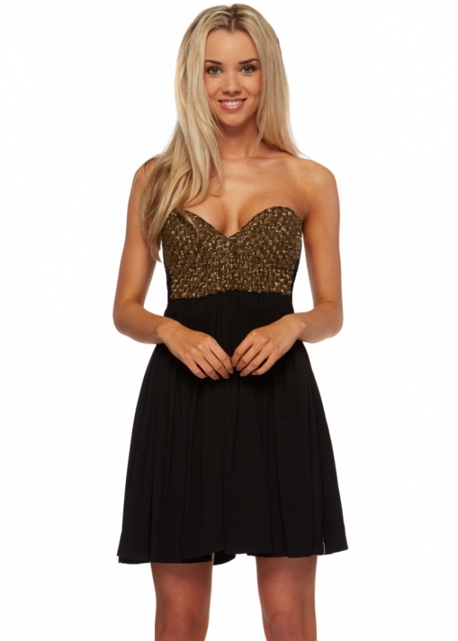 One Teaspoon The Last Dance Beaded Strapless Bustier Dress