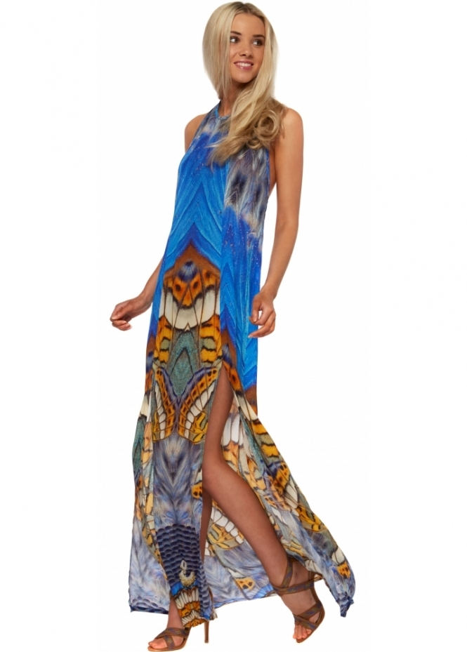 Shahida Parides Metamorphosis Split Front Maxi Dress In Dazzling Blue Silk Crepe
