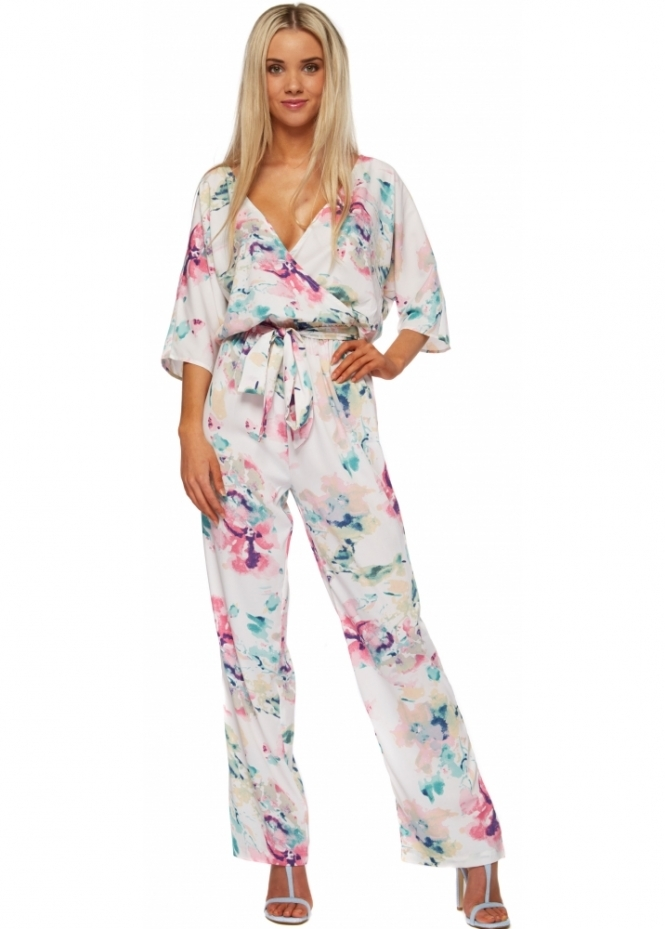 Dancing Leopard Water Lily Backless Kimono Jumpsuit