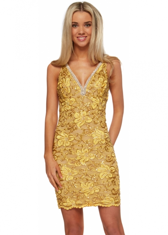 Baccio Dress Crystal & Gold Painted Lace With Crystal Straps