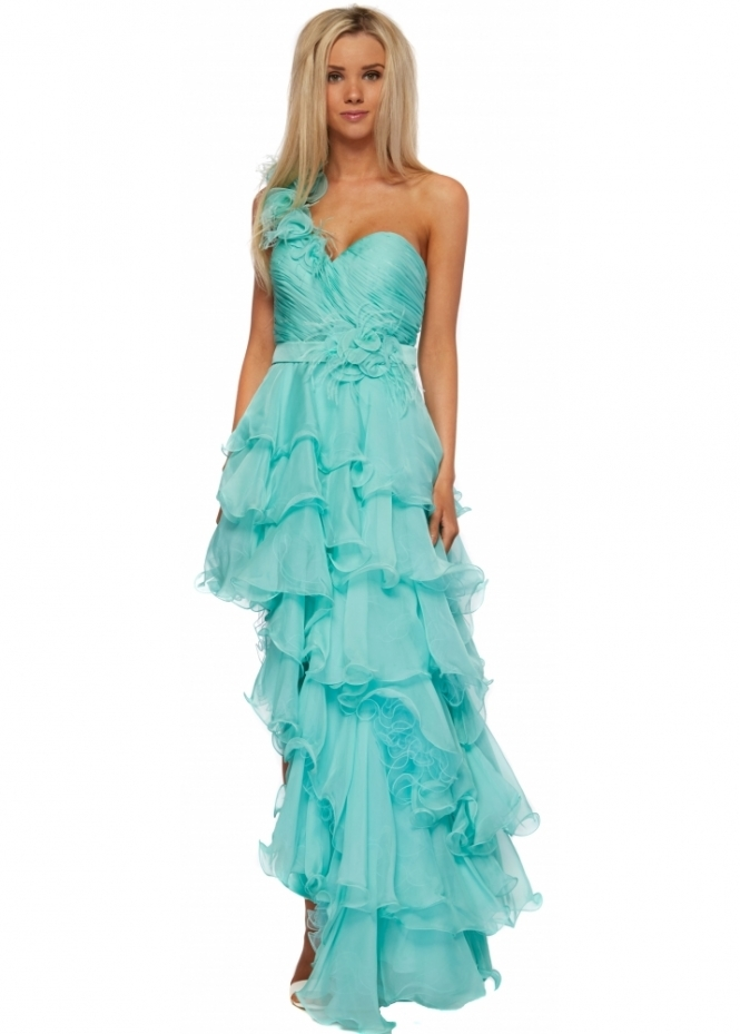Forever Unique Dress Paloma One Shoulder Flower & Feather Aqua Prom Dress