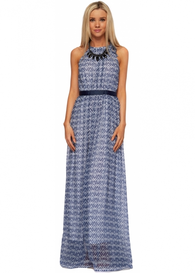 Lucy Paris Open Back Blue Maxi Dress With Beaded Necklace
