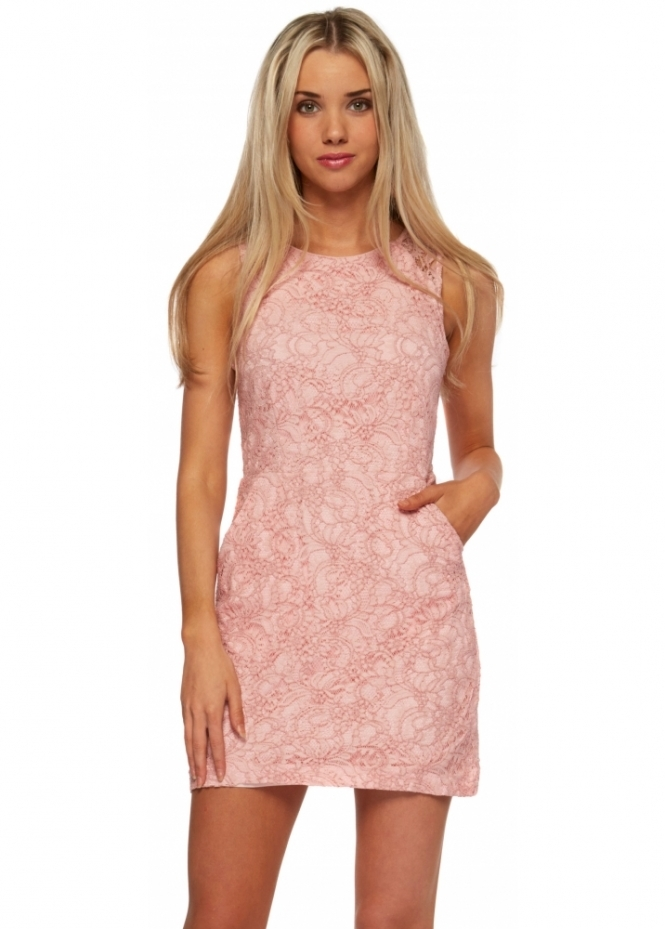Lucy Paris Baby Pink Lace Backless Mini Shift Dress
