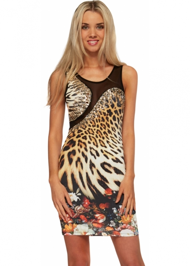 Party 21 Leopard Print Sequinned Crystal Mesh Back Mini Dress