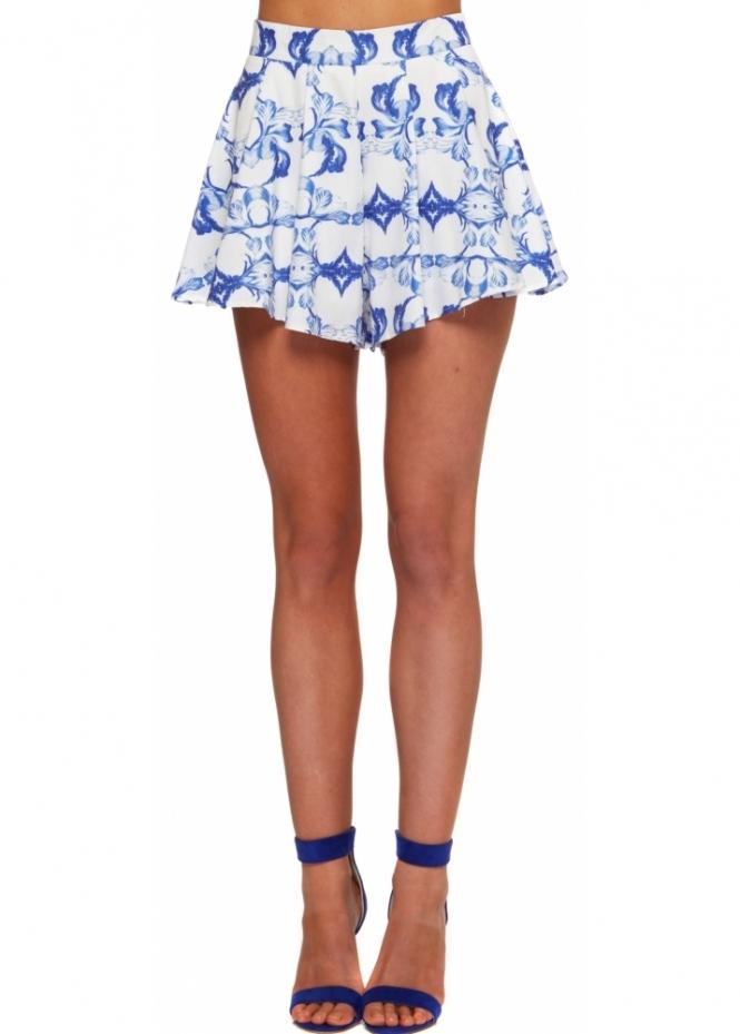 Ginger Fizz Remember Paris Blue Printed Swing Shorts