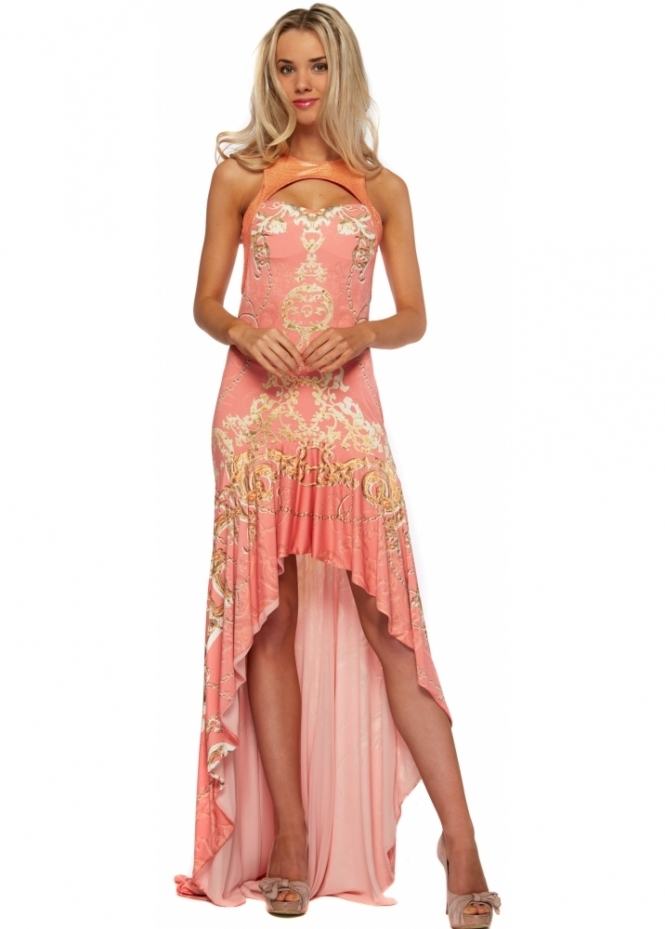 Party 21 Hi Lo Maxi Dress In Coral With Gold Print