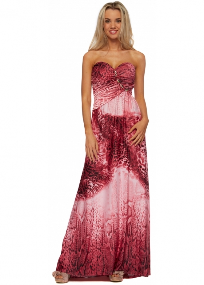 Designer Desirables Pink Leopard Print Jewelled Bustier Maxi Dress