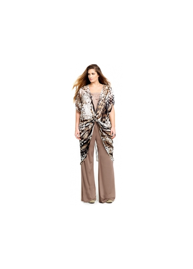 MAT Fashion Taupe Jersey Wide Leg Pants