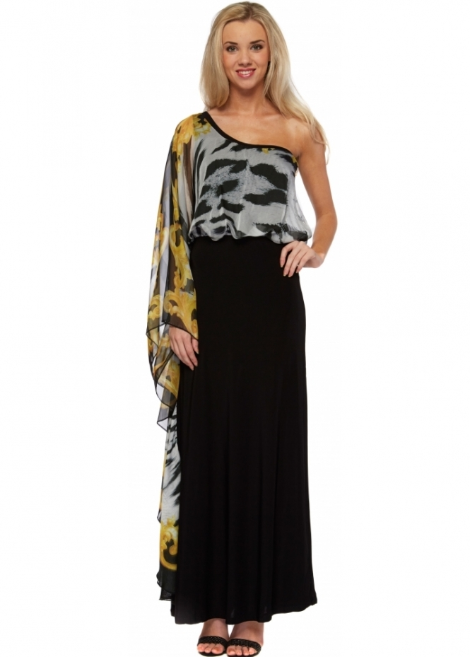 Party 21 Zebra Print Chiffon One Shoulder Maxi Dress