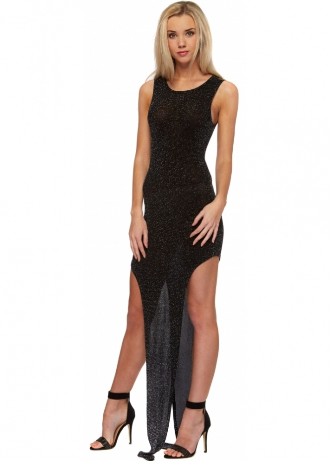 Bill+Mar Little Star Cut Out Black Glitter Maxi Dress