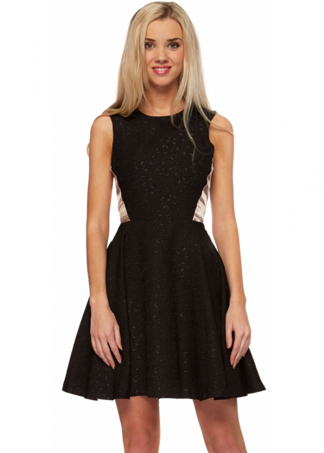 Hedonia Nude Insert Black Fit & Flare Skater Dress
