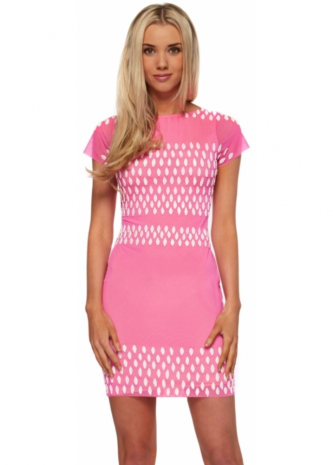 Holt Hot Pink Hand Painted White Glitter Kristina Dress