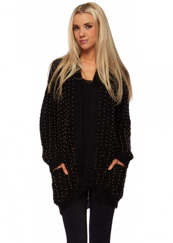 Prey Of London Oversized Beaded Mohair Black Cardigan