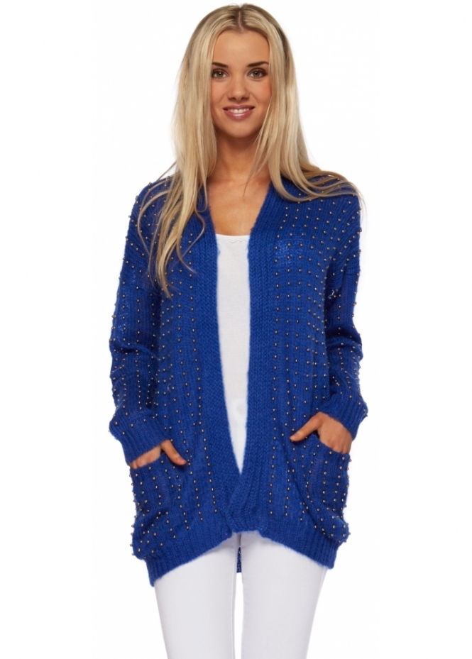 Prey Of London Oversized Beaded Mohair Blue Cardigan