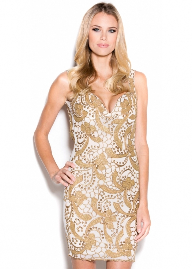 Holt Brie White & Gold Hand Painted Mini Party Dress