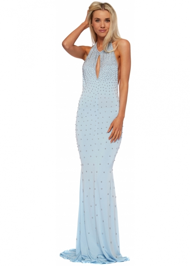 Holt Painted Crystal Blue Halter Neck Justina Dress