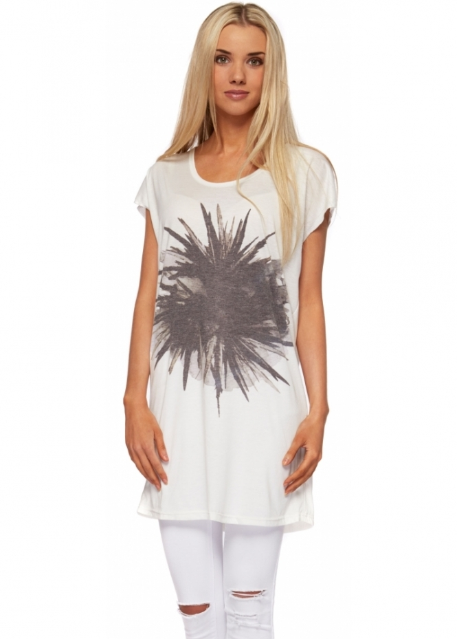 Dr Denim Sina Printed Off White Cotton Jersey Beach Dress