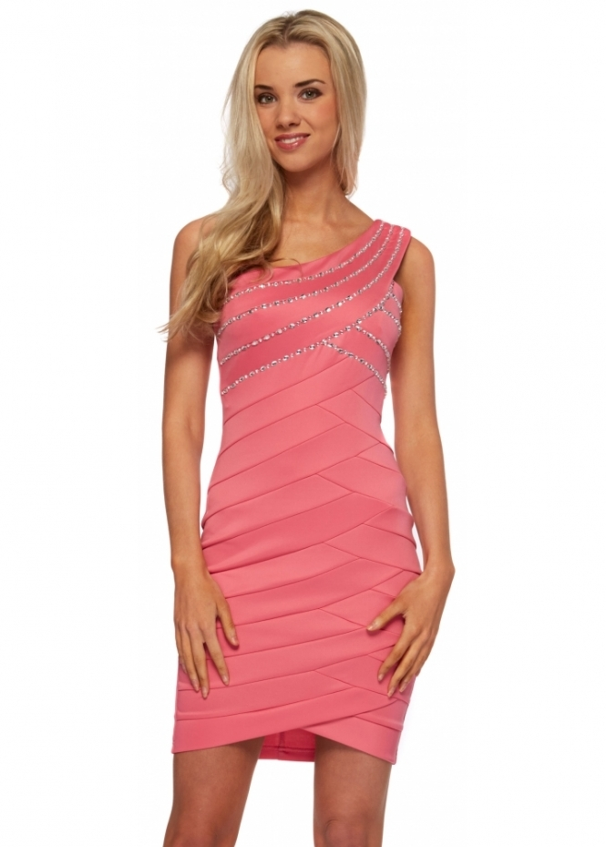 Goddess London One Shoulder Pink Mini Dress With Jewels