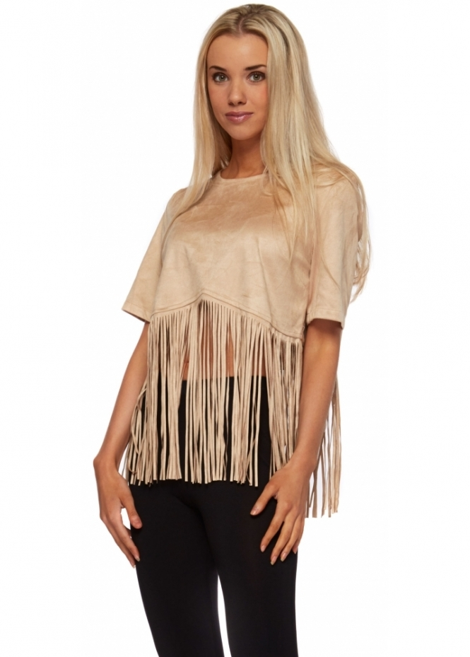 French Boutique Suedette Long Fringed Crop Top With Gold Zip