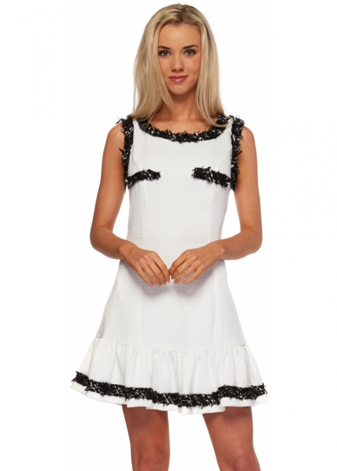 Designer Desirables White Boucle Flared Skirt Mini Dress