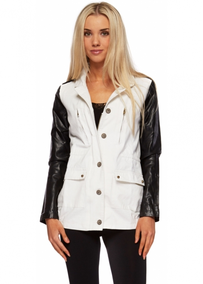 Vera & Lucy White Cotton Jacket With Faux Leather Sleeves