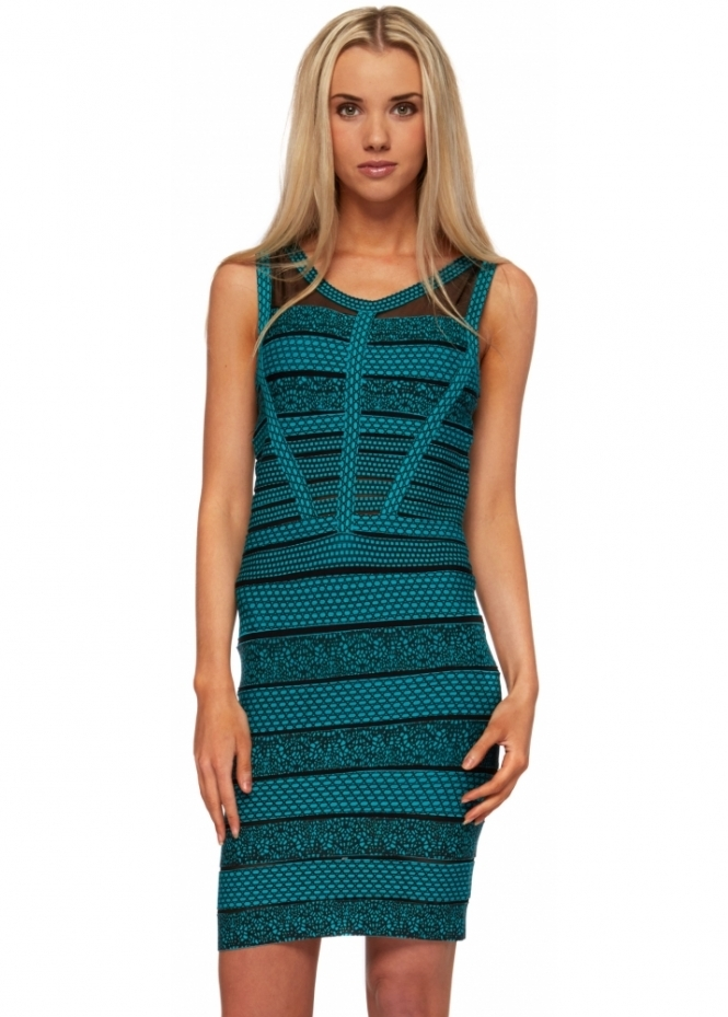 Sweewe Patterned Green Bandage Mesh Inserts Body Con Dress