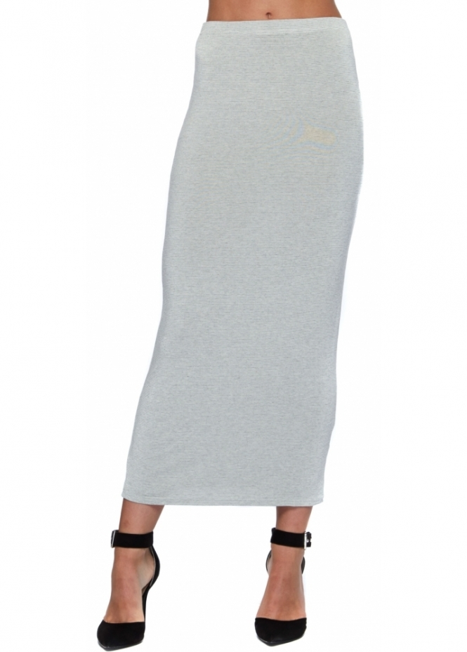 A Postcard From Brighton Fifi Bone Fine Stripe Midi Skirt