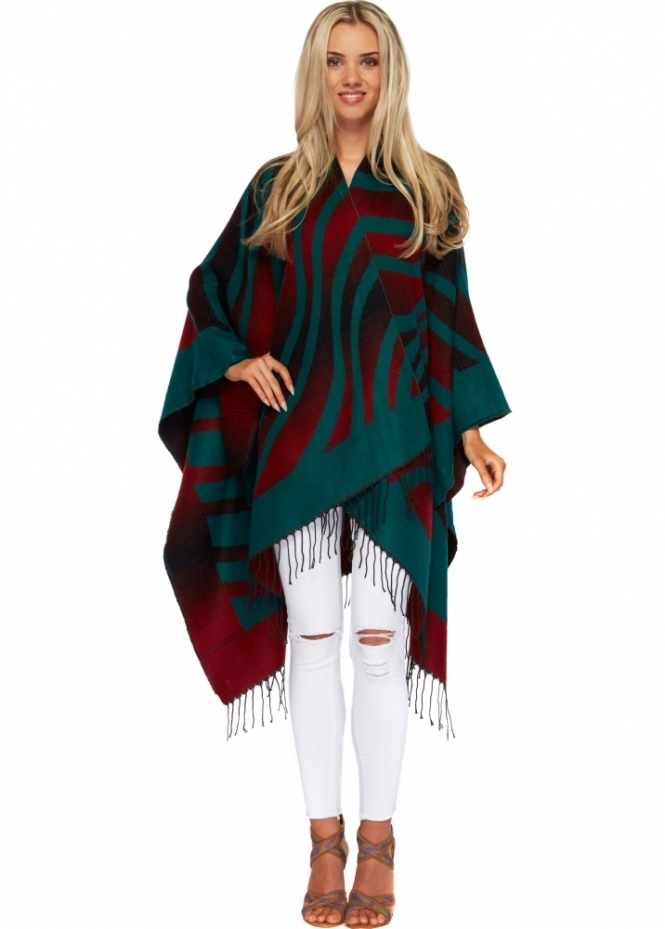 Designer Desirables Green & Red Aztec Stripe Blanket Cape